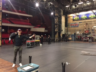 Josh backstage as the crew loads in and sets up.