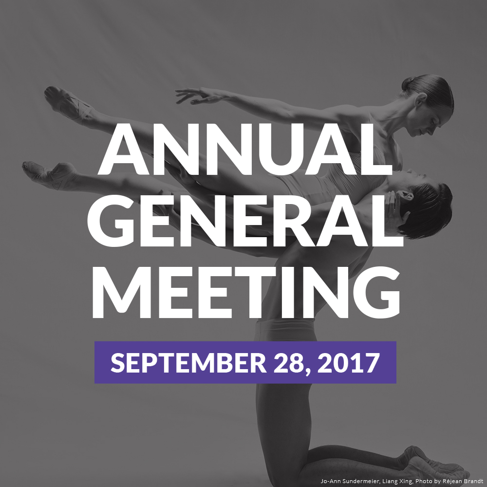 Two dancers in a dance pose. Annual General Meeting, September 28th, 2017