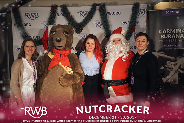 Image of RWB marketing and box office staff at the Nutcracker photo booth.