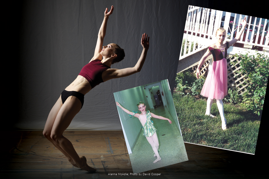 Photos of Alanna McAdie from the present, as well as when she was a child.