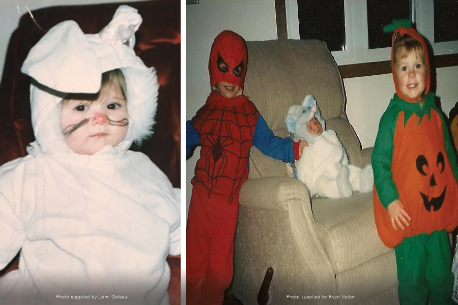 Childhood photos of Jaimi Delau and Ryan Vetter in Halloween Costumes.