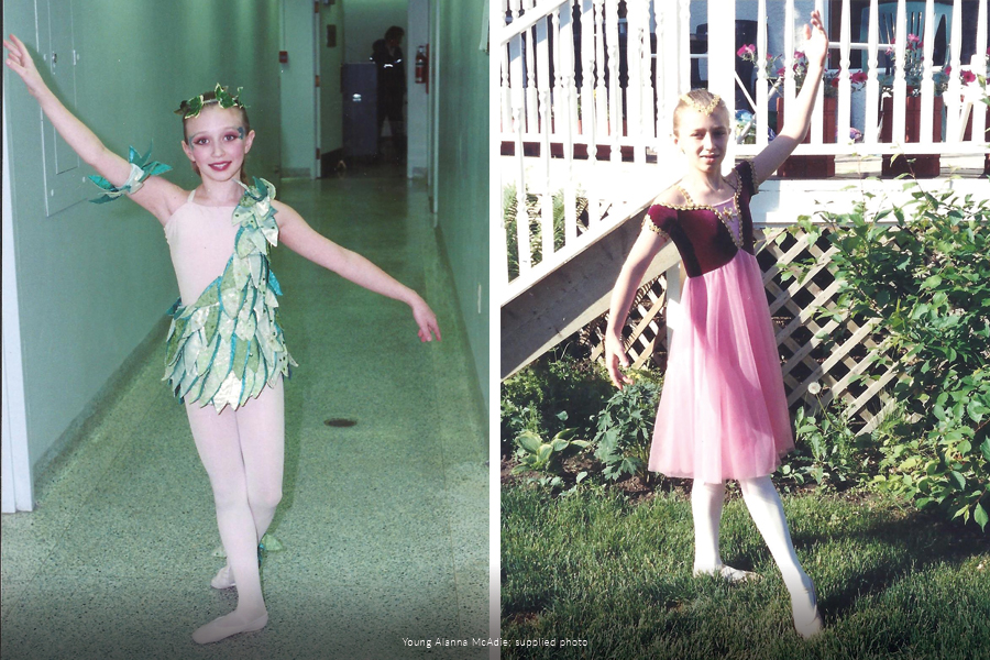 Photos of Alanna McAdie as a child in dance costumes.