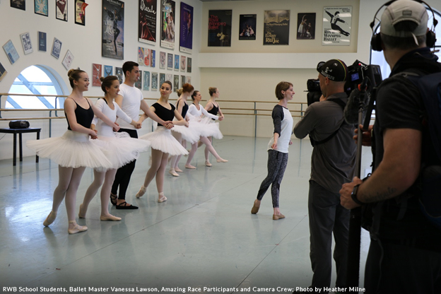 RWB School Students, Ballet Master Vanessa Lawson, Amazing Race Participants and Camera Crew; Photo by Heather Milne
