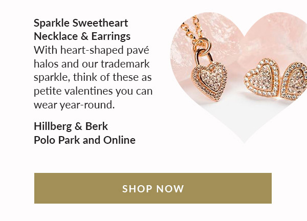 Sparkle Sweetheart Necklace & Earrings. With heart-shaped pavé halos and our trademark sparkle, think of these as petite valentines you can wear year-round. Hillberg & Berk | Polo Park and Online. Shop Now!