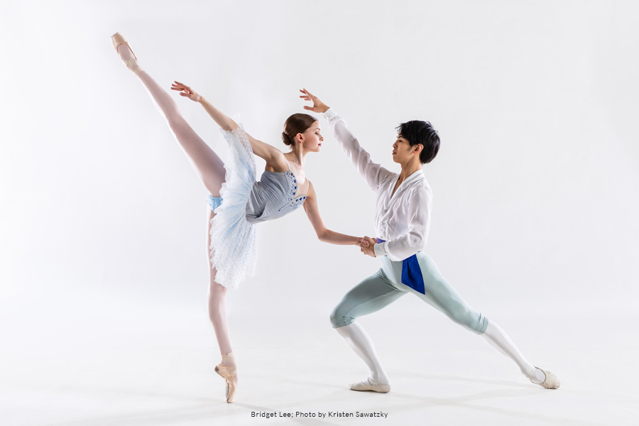 Bridget Lee and RWB Professional Division Student in a partnered dance pose.