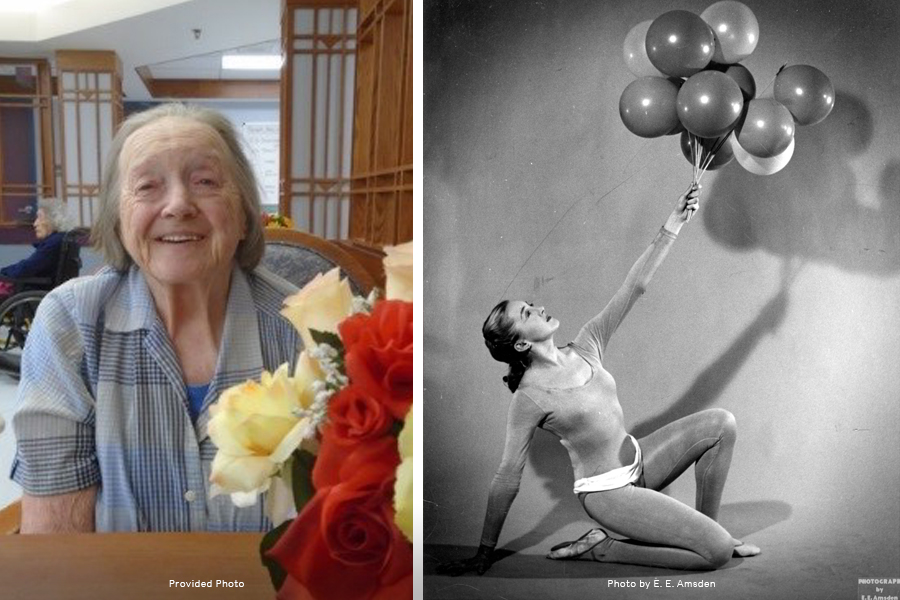 Side by side photos of Barbara Cook. On the left is a more recent photo of Barbara Cook, sitting in a patterned shirt at a table with flowers. The photo on the right is a black and white older photo of Barbara Cook in a dance photo holding a group of balloons.