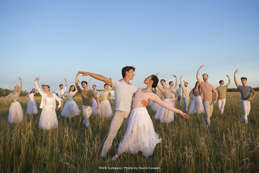 RWB Company Dancers posing in a field.