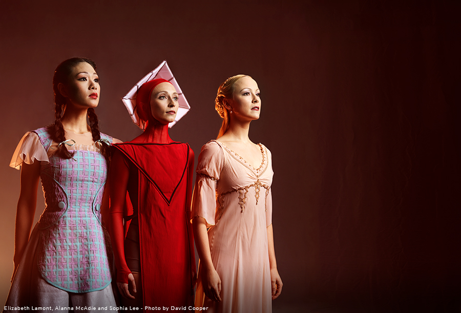 RWB Company Dancers standing in costume. Sophia Lee as Dorothy, Alanna McAdie as Offred, Elizabeth Lamont as Juliet.