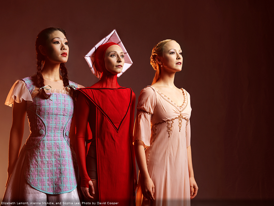 Photo of RWB Dancers Elizabeth-Lamont, Alanna-McAdie, and Sophia Lee in costume
