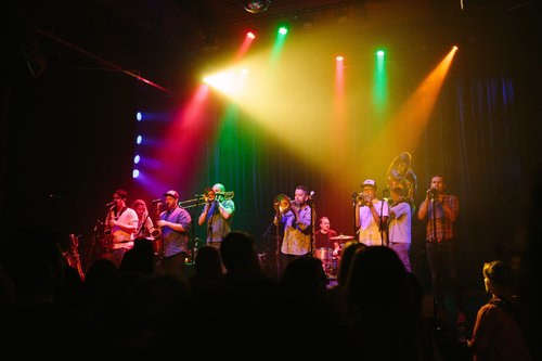 Photo of the Dirty Catfish Brass Band in concert